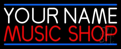Custom Music Shop Red Line Blue Neon Sign