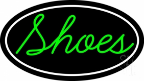 Green Cursive Shoes With Border Neon Sign
