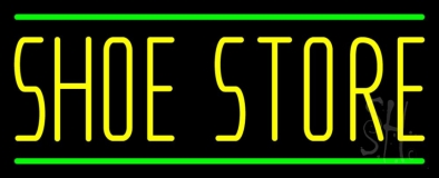 Shoe Store With Green Line Neon Sign
