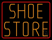 Shoe Store With Red Border Neon Sign