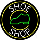 White Shoe Shop With Border Neon Sign