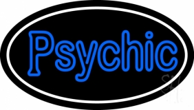 Blue Double Stroke Psychic White Border Neon Sign