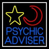 Blue Psychic Advisor With Logo White Border Neon Sign