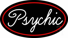 Cursive White Psychic Red Border Neon Sign