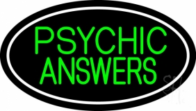 Green Psychic Answers White Border Neon Sign