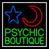 Green Psychic Boutique White Border Neon Sign