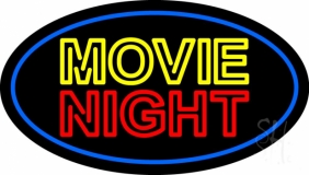Movie Night Blue Border Neon Sign
