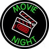 Movie Night With Border Neon Sign