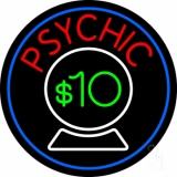 Psychic With Crystal Globe Blue Border Neon Sign