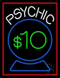 Psychic With Crystal Globe Red Border Neon Sign