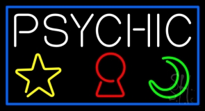 Psychic With Logo Blue Border Neon Sign