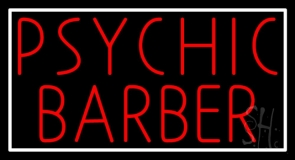 Red Psychic Barber With Border Neon Sign