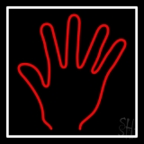 Red Psychic Palm With White Border Neon Sign