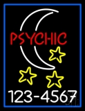 Red Psychic White Logo Phone Number Blue Border Neon Sign