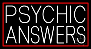 White Psychic Answers Neon Sign