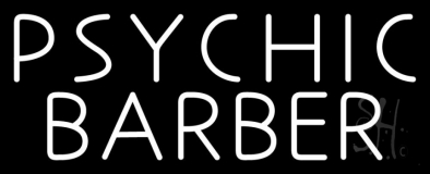 White Psychic Barber Neon Sign