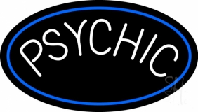 White Psychic Blue Border Neon Sign