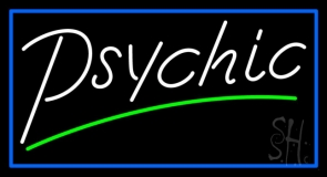 White Psychic Green Line Neon Sign