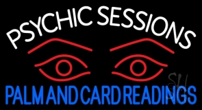 White Psychic Sessions With Red Eye Neon Sign