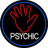 White Psychic With Blue Border Neon Sign