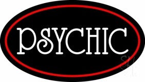 White Psychic With Red Border Neon Sign
