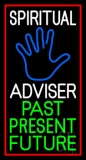 White Spiritual Advisor With Blue Palm Red Border Neon Sign