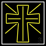 Yellow Christian Cross Neon Sign
