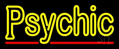 Yellow Double Stroke Psychic Neon Sign