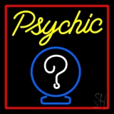 Yellow Psychic With Red Border Neon Sign
