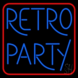 Red Border Blue Retro Party Neon Sign