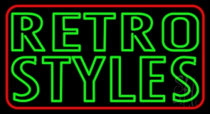 Red Border Green Retro Styles Neon Sign