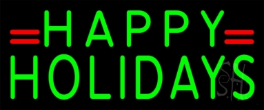 Green Happy Holidays Neon Sign