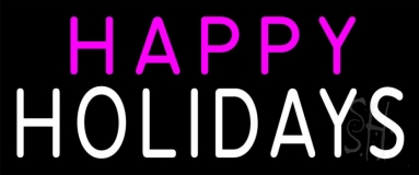 Pink Happy White Holidays Neon Sign