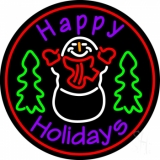Purple Happy Holidays Snow Man Neon Sign