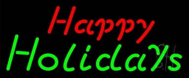 Red Happy Green Holidays Neon Sign