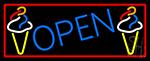Blue Open Ice Cream Cone Neon Sign