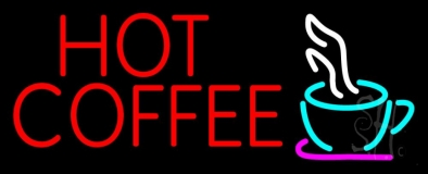Red Hot Coffee With Cup Neon Sign