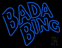 Double Stroke Blue Bada Bing Neon Sign