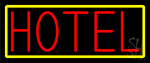 Hotel With Yellow Border Neon Sign