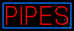 Pipes Bar With Blue Border Neon Sign