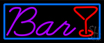 Purple Bar With Martini Glass Neon Sign