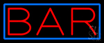 Red Bar With Blue Border Neon Sign