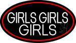Red Girls Girls Girls Strip With Red Border Neon Sign