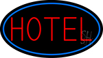 Red Simple Hotel With Blue Border Neon Sign