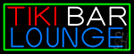 Tiki Bar Lounge With Green Border Neon Sign