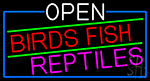 Open Birds Fish Reptiles With Blue Border Neon Sign