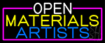 Open Materials Artists With Pink Border Neon Sign