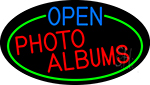 Open Photo Albums Oval With Green Border Neon Sign