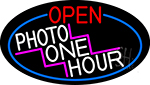 Open Photo One Hour Oval With Red Border Neon Sign