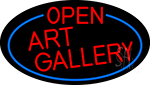 Red Open Art Gallery Oval With Blue Border Neon Sign